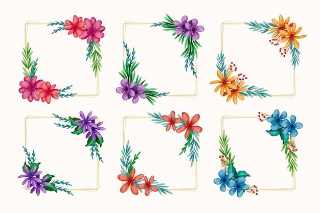 Collection de cadres floraux colorés aquarelle
