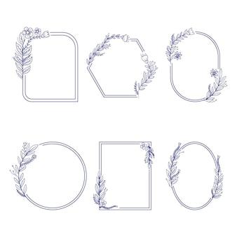 Collection de cadres floraux dessinés à la main