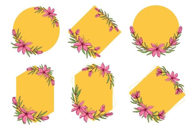 Collection de cadres floraux. ensemble de fleurs de croquis mignon avec une forme de couronne