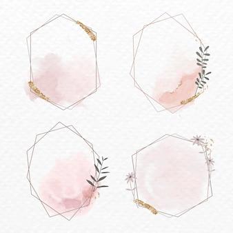 Collection de cadres floraux géométriques