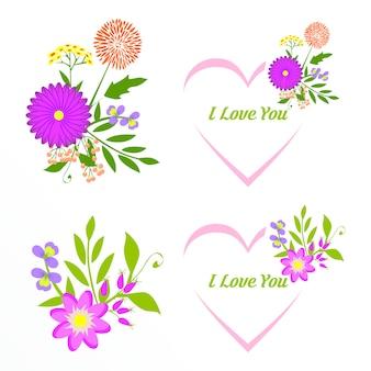 Collection de cadres floraux romantiques. fleurs roses disposées en forme de couronne