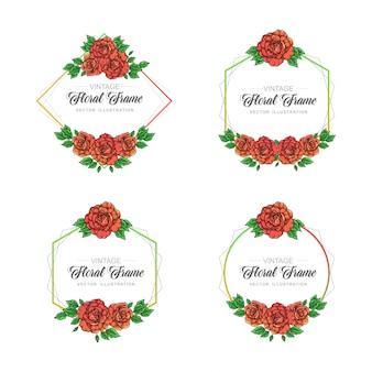 Collection de cadres floraux rose