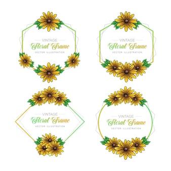 Collection de cadres floraux tournesol