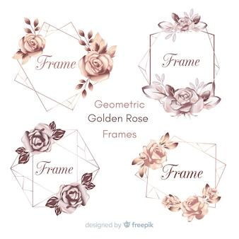 Collection de cadres géométrique rose doré