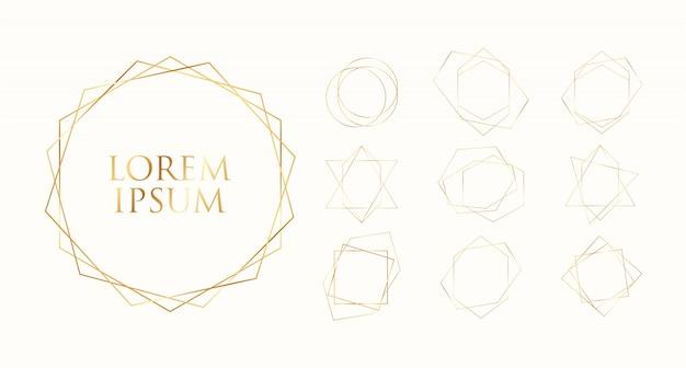 Collection de cadres géométriques en or.