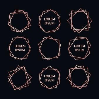 Collection de cadres géométriques rose doré