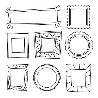 Collection de cadres de griffonnage de style dessinés à la main