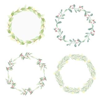 Collection de cadres de guirlande de feuilles aquarelle minimaliste de noël