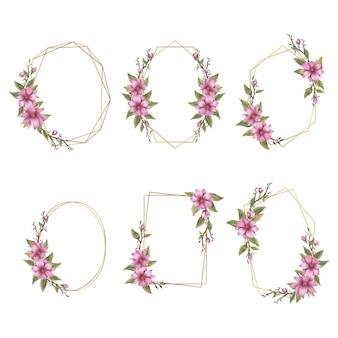 Collection de cadres de mariage avec bouquet de fleurs roses aquarelle