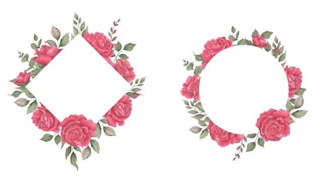 Collection de cadres de mariage avec des décorations de fleurs à l'aquarelle