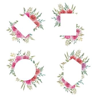 Collection de cadres de mariage floral aquarelle