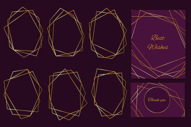 Collection de cadres de mariage polygonaux dorés