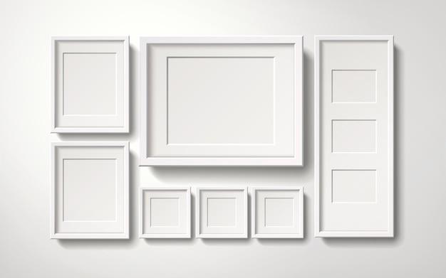 Collection de cadres photo blanc blanc accroché au mur, style réaliste d'illustration 3d