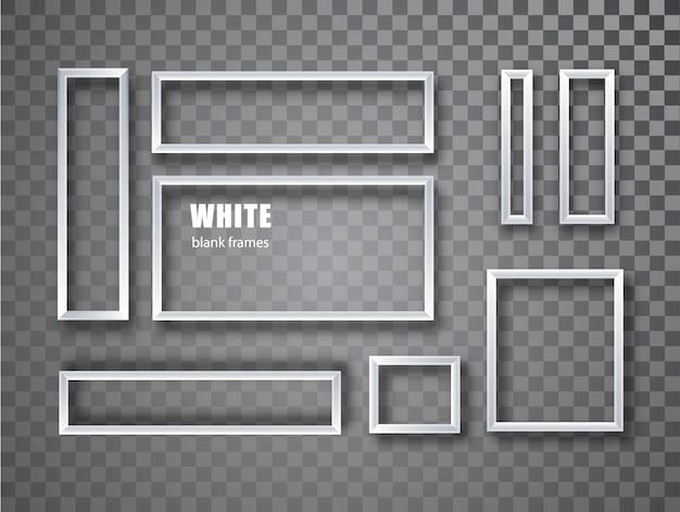 Collection de cadres photo blanc blanc réaliste. cadre photo vide