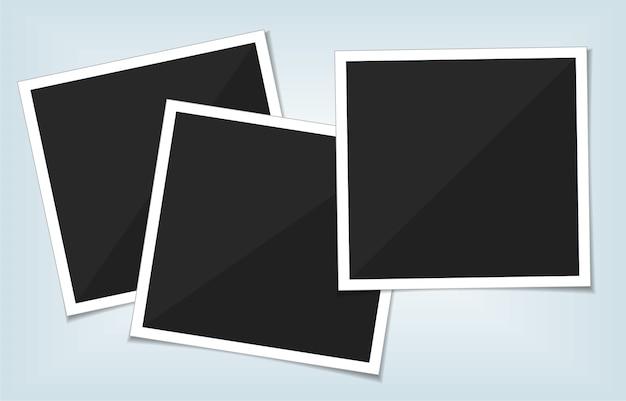 Collection de cadres de photo vierge de vecteur