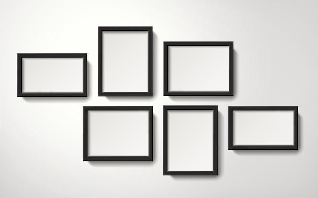 Collection de cadres photo vierges réalistes accroché au mur, illustration 3d