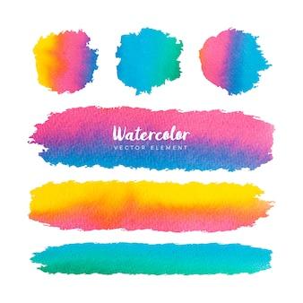 Collection de cadres de pinceaux colorés aquarelle grunge