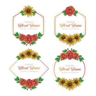 Collection de cadres de roses et tournesols