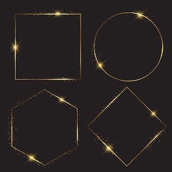 Collection de cadres scintillants dorés