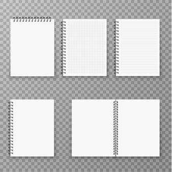 Collection de cahier réaliste ouvert et fermé vierge, organisateur et modèle de journal isolé. organisateur de page papier et ensemble de cahiers.