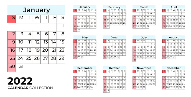 Collection calendrier coloré 2022 avec grille