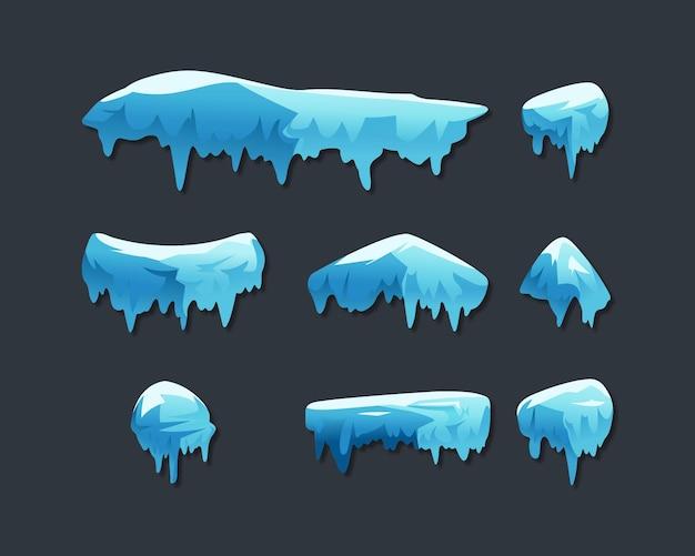 Collection de calottes glaciaires isolé sur gris