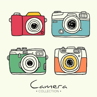 Collection de caméra photographique dessinée à la main