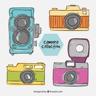 Collection de caméra vintage dessinée à la main