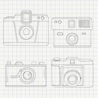 Collection caméras dans le style tiré par la main