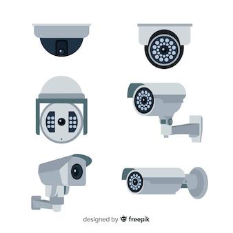 Collection de caméras de vidéosurveillance avec un design plat