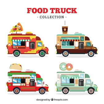 Collection de camions alimentaires avec style moderne