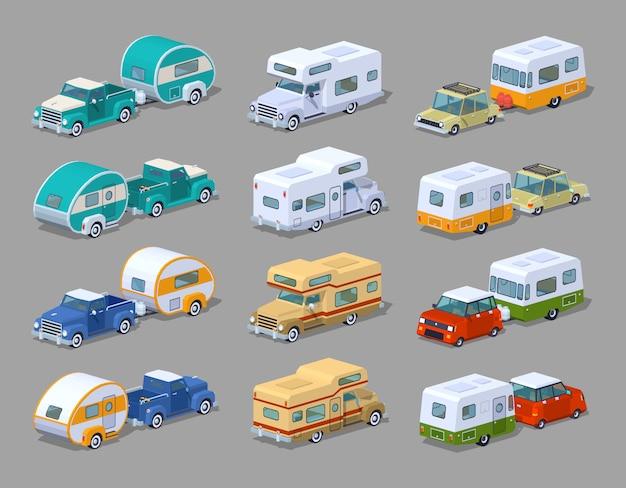 Collection de campeurs de camping isométriques en 3d