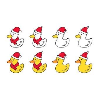 Collection de canard de noël avec écharpe et chapeau