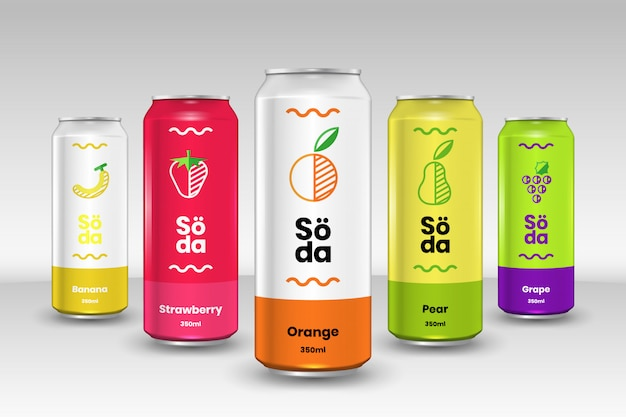 Collection de canettes de soda aux fruits