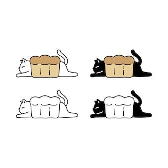 Collection de caractère de boulangerie de pain chaton chat
