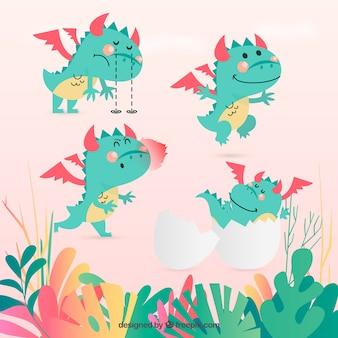 Collection de caractères bébé dragon avec un design plat
