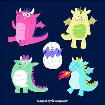 Collection de caractères de bébé dragon dessinés à la main