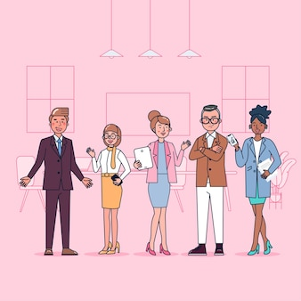 Collection de caractères de collègues de bureau grand ensemble illustration plate isolée portant un uniforme professionnel, style cartoon