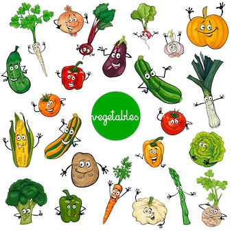 Collection de caractères de dessin animé légumes