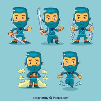 Collection de caractères ninja de cinq