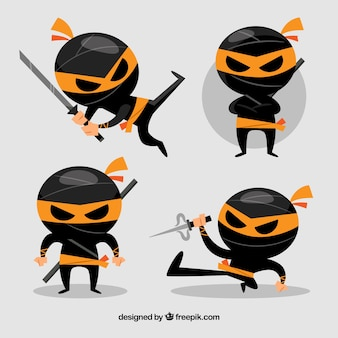 Collection de caractères ninja noir