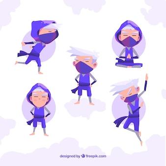 Collection de caractères ninja d'origine avec un design plat
