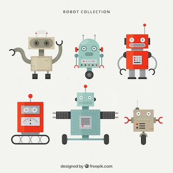 Collection de caractères robot design plat