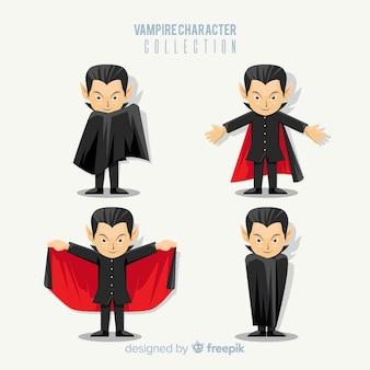 Collection de caractères vampire coloré avec un design plat