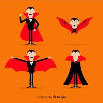 Collection de caractères vampire halloween coloré avec un design plat