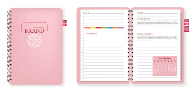 Collection de carnet de notes rose