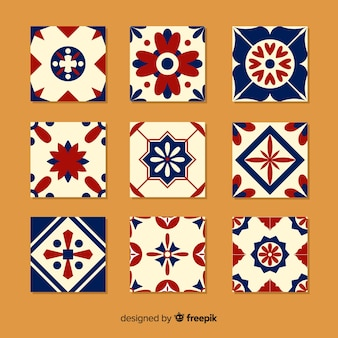 Collection de carreaux colorés au design plat