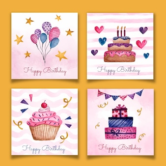 Collection de carte d'anniversaire aquarelle