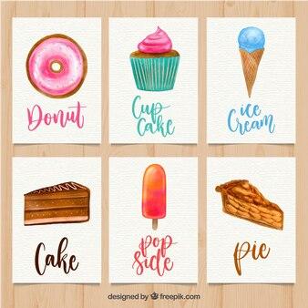 Collection de carte belle aquarelle alimentaire