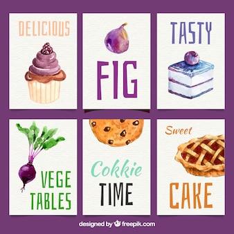 Collection de carte de nourriture aquarelle